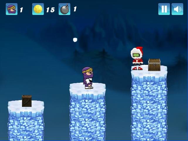 Ninja Ben In Winterland - over cliffs