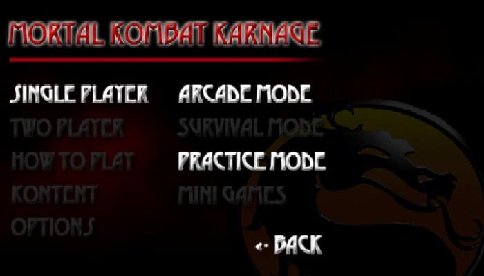 Mortal Kombat Karnage start menu 2