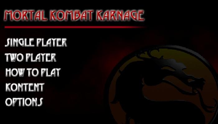 Mortal Kombat Karnage start menu